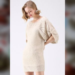 What We Dream Fluffy Hand-Knit Dress Bubble Sleeve
